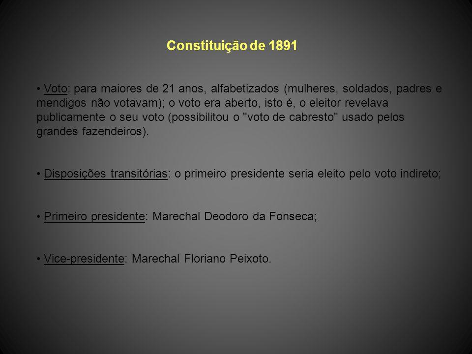 Constituição de 1891 A primeira Constituição Republicana foi promulgada em 24 de fevereiro de 1891, cujos dispositivos fundamentais consistiam: forma