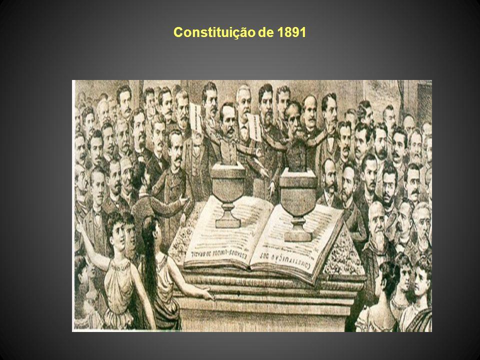 Constituição de 1891 Voto: para maiores de 21 anos, alfabetizados (mulheres, soldados, padres e mendigos não votavam); o voto era aberto, isto é, o el