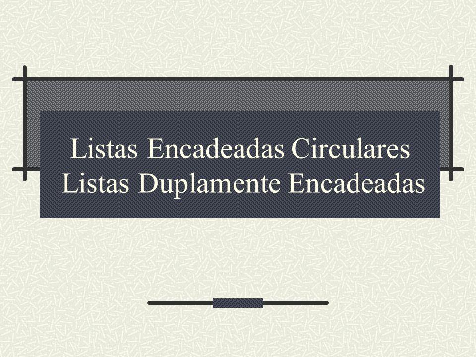 Listas Encadeadas Circulares Listas Duplamente Encadeadas