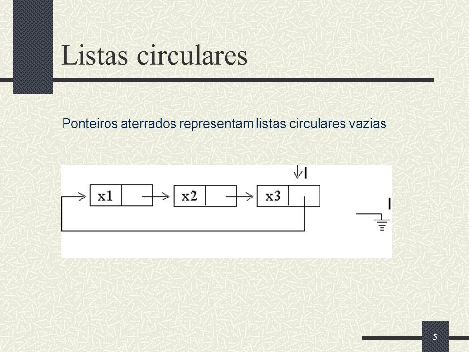 5 Listas circulares Ponteiros aterrados representam listas circulares vazias