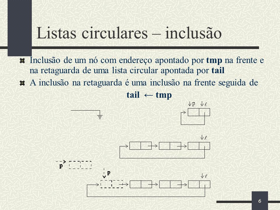 7 Listas circulares – inclusão na frente // frente será o sucessor de tail public void insertFront(Object item){ Element tmp = new Element (item, null); if (tail = null) tail = tmp; else { tmp.next = tail.next; tail.next = tmp; }