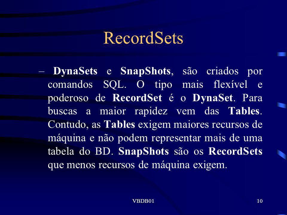 VBDB0110 RecordSets –DynaSets e SnapShots, são criados por comandos SQL. O tipo mais flexível e poderoso de RecordSet é o DynaSet. Para buscas a maior