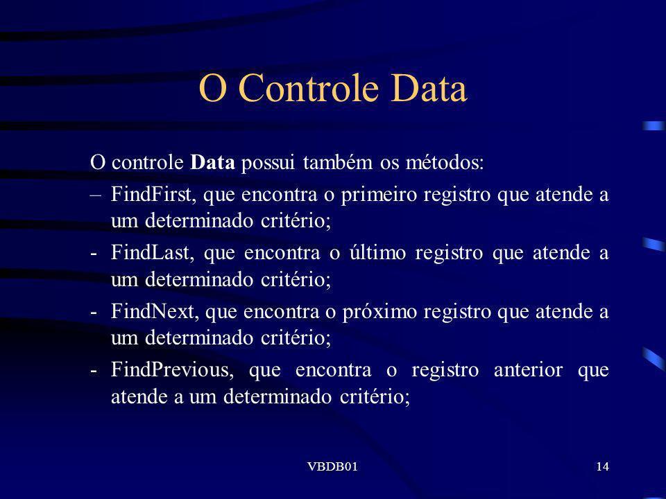 VBDB0114 O Controle Data O controle Data possui também os métodos: –FindFirst, que encontra o primeiro registro que atende a um determinado critério;