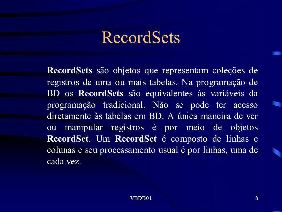 VBDB0129 Inclusão de Registros O tratamento de inclusões de registros em Bancos de Dados deve ser feito com a seguinte seqüência: Comando Recordset.AddNew (cria um registro no buffer) Atribuição de valores a cada um dos campos do registro criado Inclusão no Bancos de Dados pelo comando RecordSet.Update