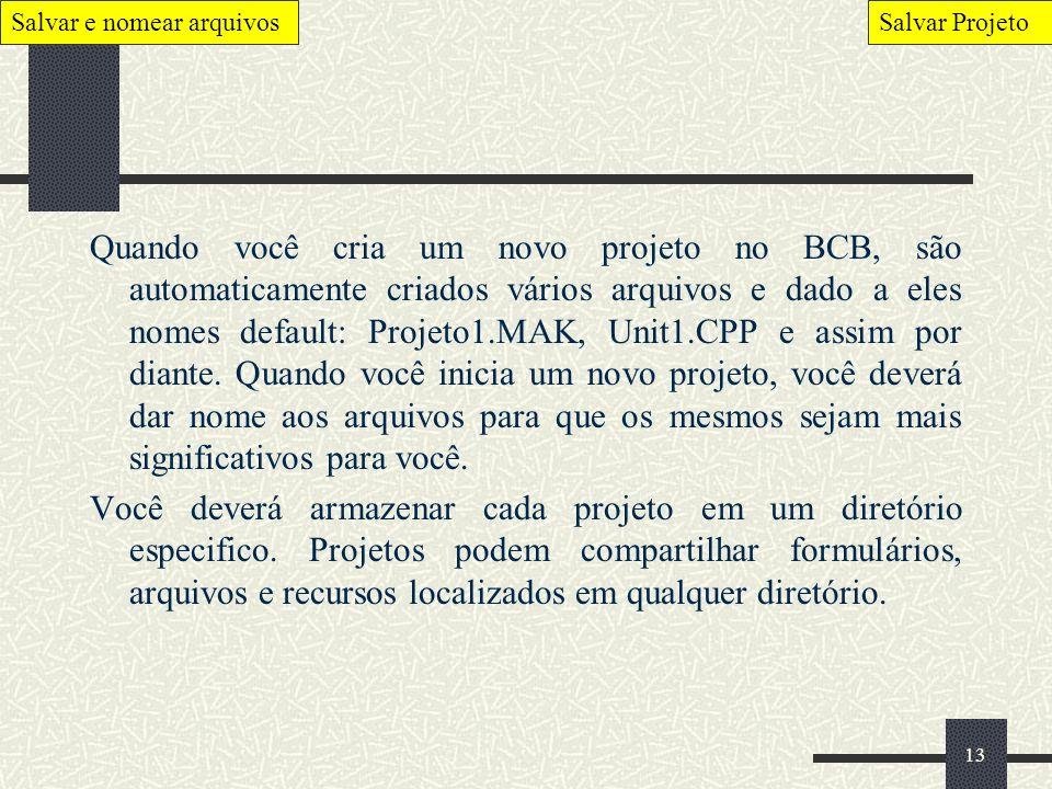 13 Quando você cria um novo projeto no BCB, são automaticamente criados vários arquivos e dado a eles nomes default: Projeto1.MAK, Unit1.CPP e assim p