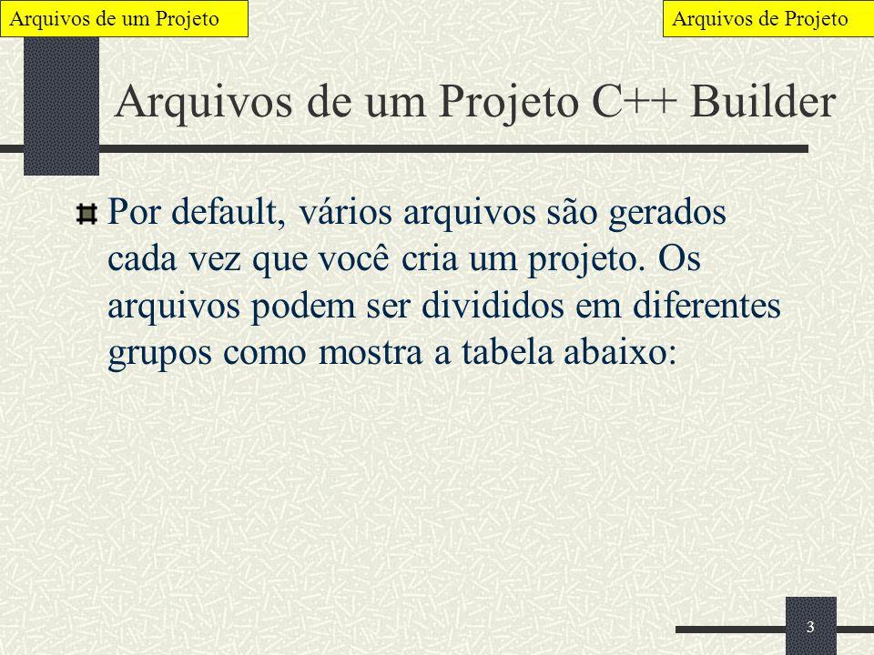 4 Arquivos de um Projeto Quando você cria um novo projeto, O BCB automaticamente cria os seguintes arquivos: Project1.CPP Project1.MAK Project1.RES Estes arquivos são iniciados por Project1, porque seus nomes são derivados do nome que você da ao seu projeto.