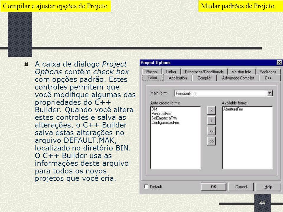 44 A caixa de diálogo Project Options contêm check box com opções padrão. Estes controles permitem que você modifique algumas das propriedades do C++