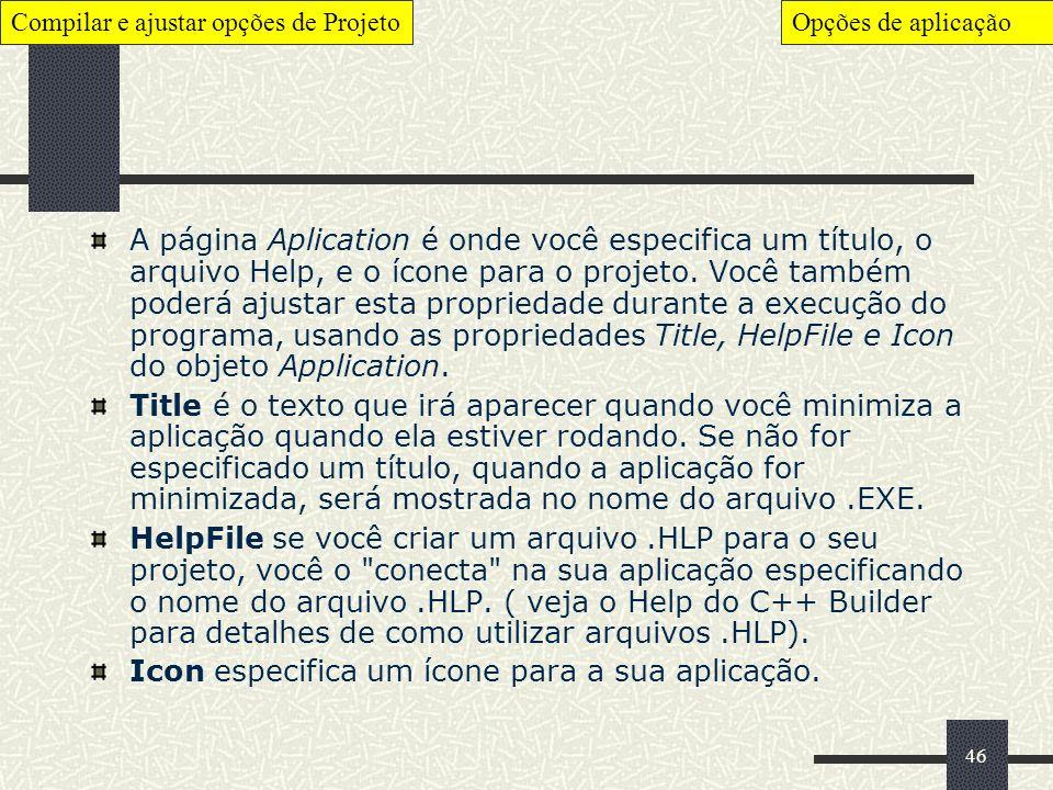 46 A página Aplication é onde você especifica um título, o arquivo Help, e o ícone para o projeto. Você também poderá ajustar esta propriedade durante