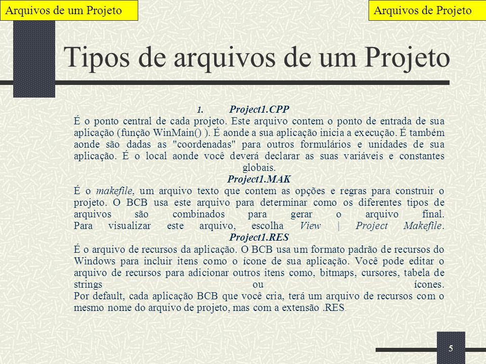 5 Tipos de arquivos de um Projeto 1. Project1.CPP É o ponto central de cada projeto. Este arquivo contem o ponto de entrada de sua aplicação (função W