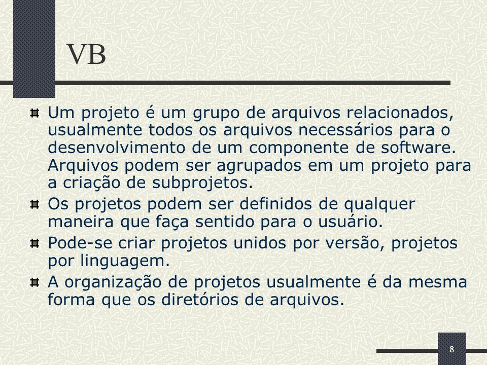 8 VB Um projeto é um grupo de arquivos relacionados, usualmente todos os arquivos necessários para o desenvolvimento de um componente de software. Arq