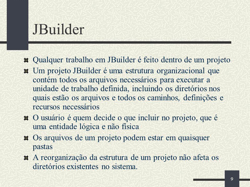 9 JBuilder Qualquer trabalho em JBuilder é feito dentro de um projeto Um projeto JBuilder é uma estrutura organizacional que contém todos os arquivos