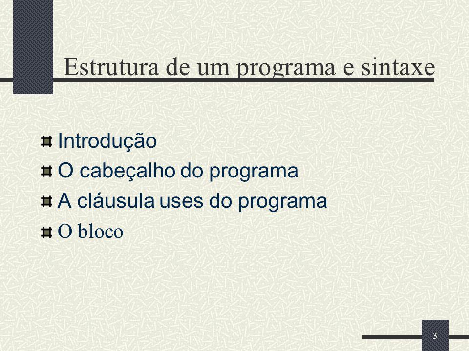 3 Estrutura de um programa e sintaxe Introdução O cabeçalho do programa A cláusula uses do programa O bloco