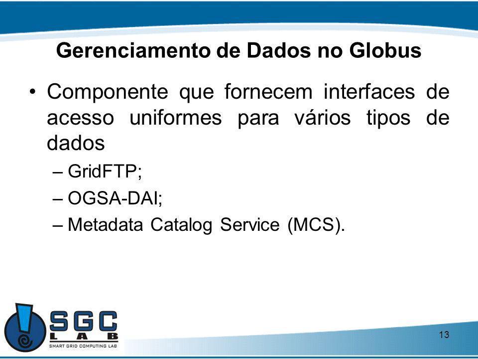 13 Gerenciamento de Dados no Globus Componente que fornecem interfaces de acesso uniformes para vários tipos de dados –GridFTP; –OGSA-DAI; –Metadata C