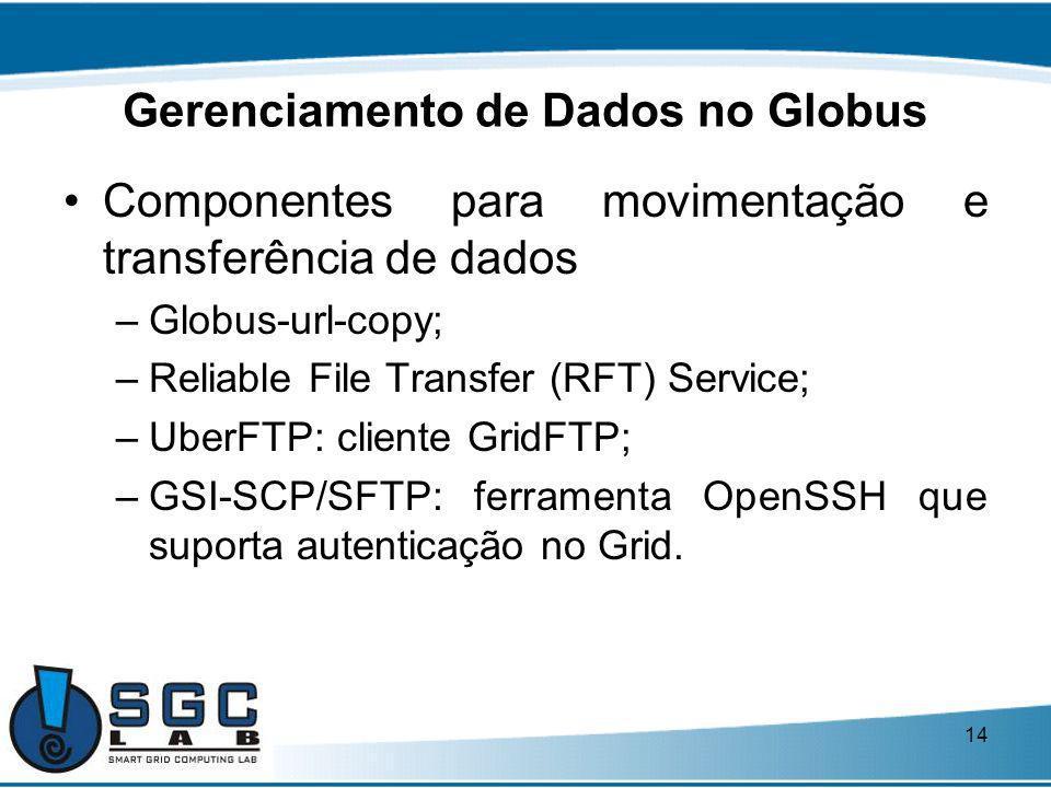 14 Gerenciamento de Dados no Globus Componentes para movimentação e transferência de dados –Globus-url-copy; –Reliable File Transfer (RFT) Service; –U