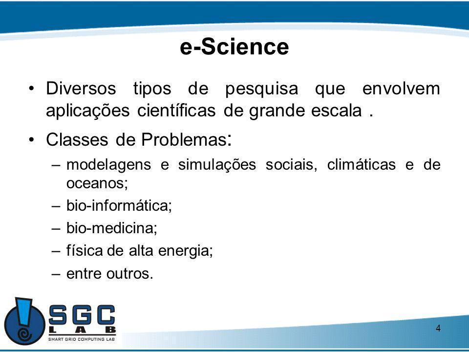 4 e-Science Diversos tipos de pesquisa que envolvem aplicações científicas de grande escala. Classes de Problemas : –modelagens e simulações sociais,