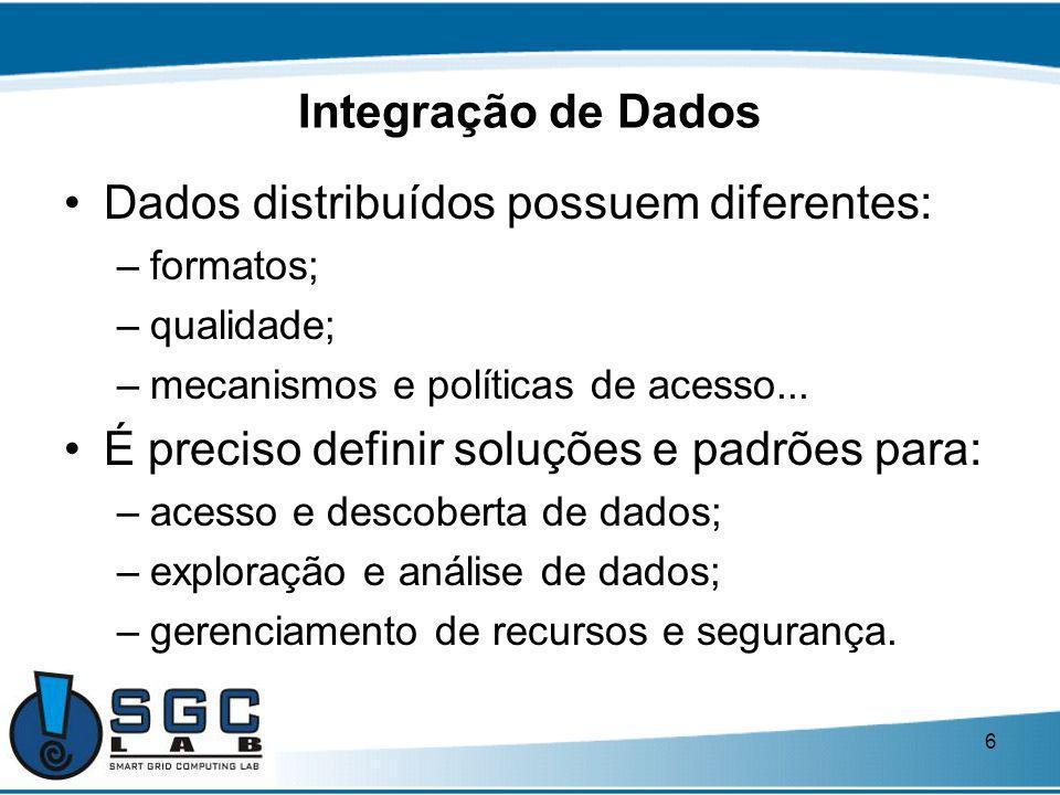 6 Integração de Dados Dados distribuídos possuem diferentes: –formatos; –qualidade; –mecanismos e políticas de acesso... É preciso definir soluções e