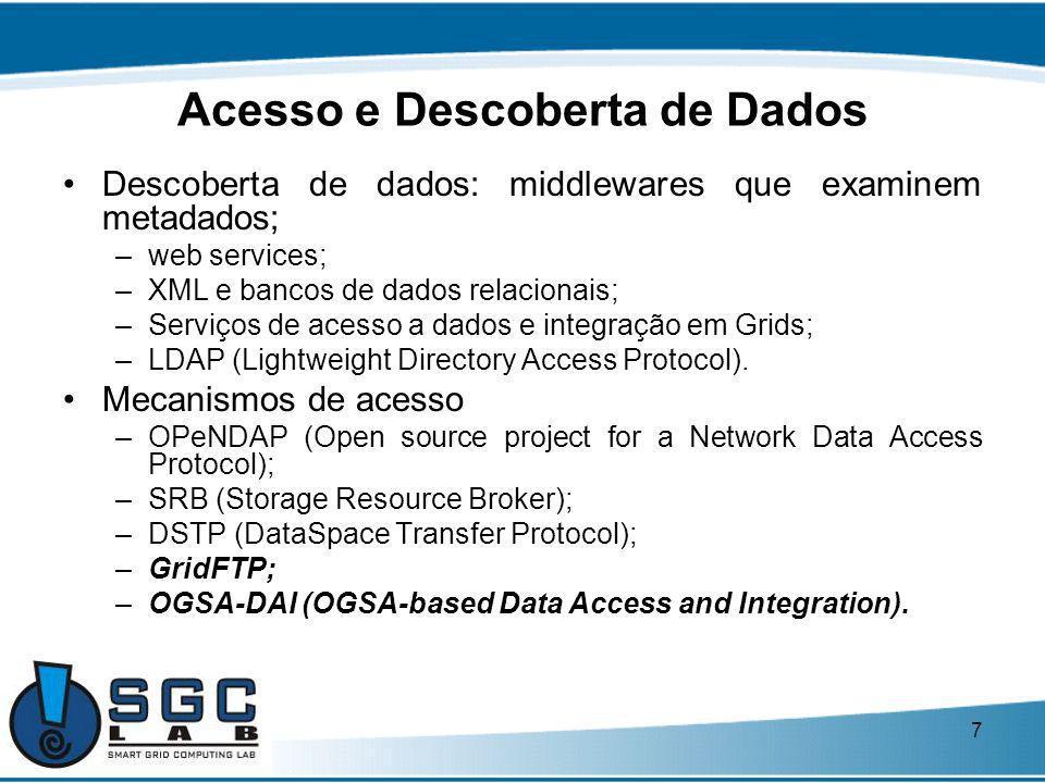 7 Acesso e Descoberta de Dados Descoberta de dados: middlewares que examinem metadados; –web services; –XML e bancos de dados relacionais; –Serviços d