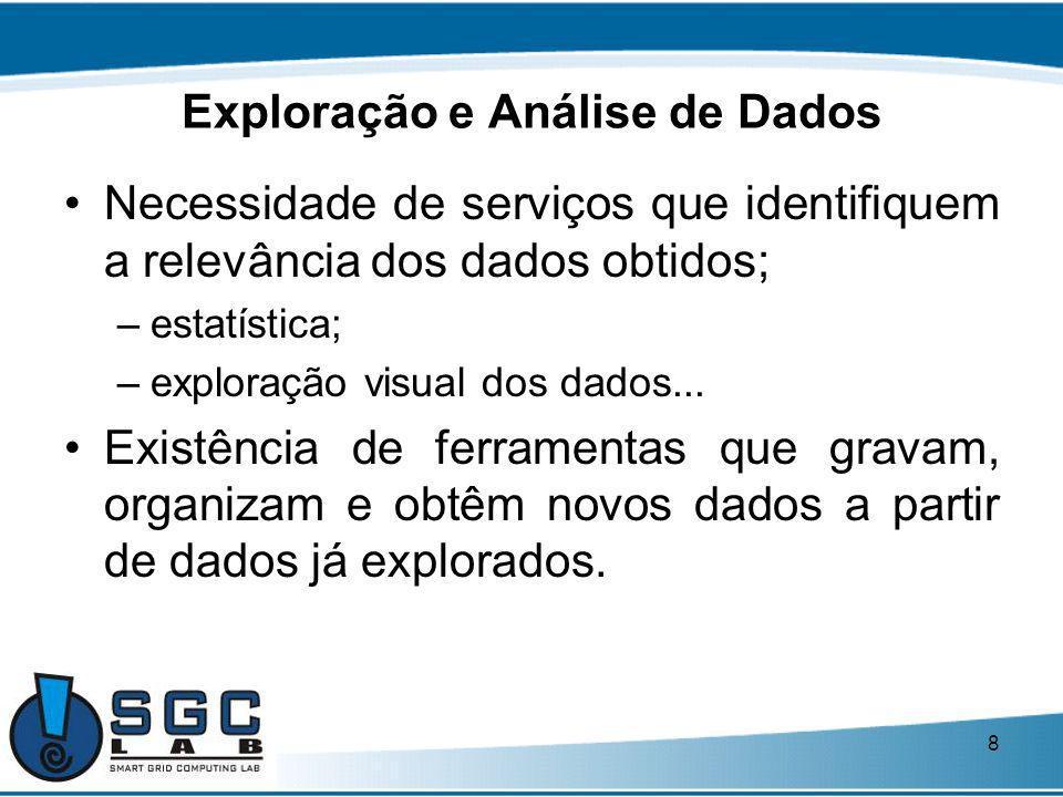 8 Exploração e Análise de Dados Necessidade de serviços que identifiquem a relevância dos dados obtidos; –estatística; –exploração visual dos dados...