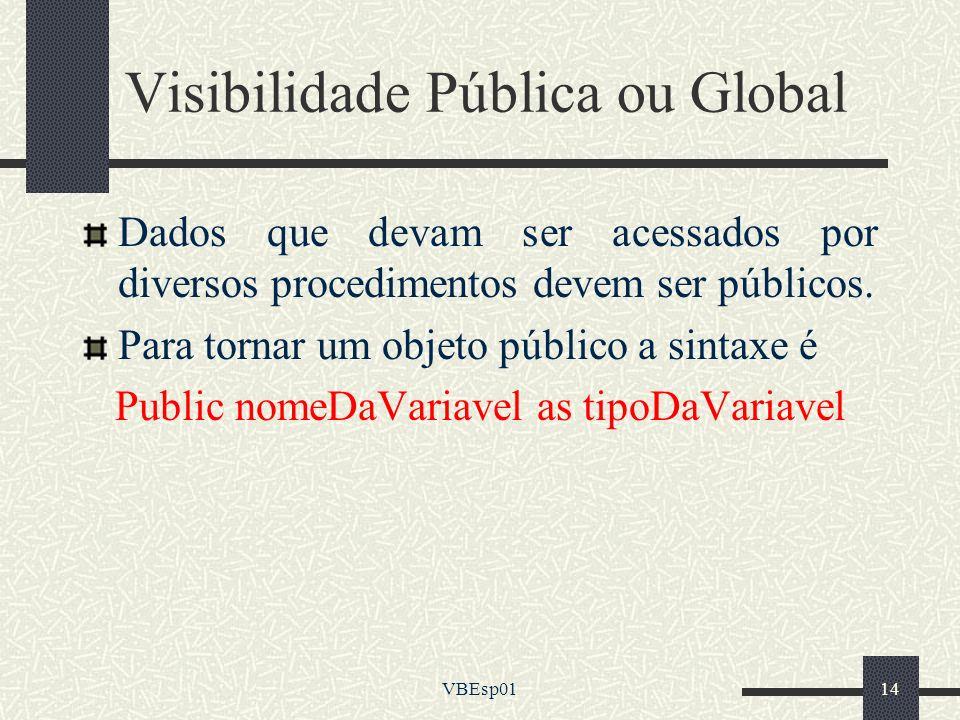 VBEsp0114 Visibilidade Pública ou Global Dados que devam ser acessados por diversos procedimentos devem ser públicos. Para tornar um objeto público a