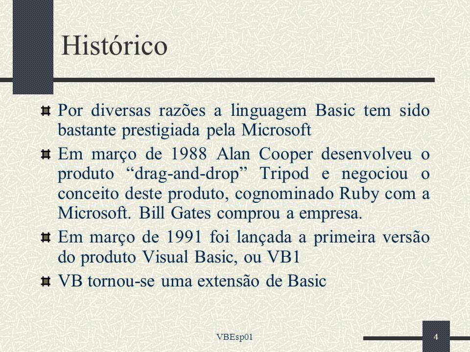 VBEsp014 Histórico Por diversas razões a linguagem Basic tem sido bastante prestigiada pela Microsoft Em março de 1988 Alan Cooper desenvolveu o produ