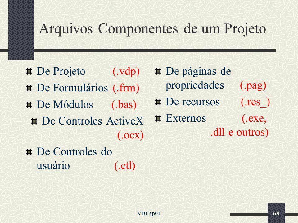 VBEsp0168 Arquivos Componentes de um Projeto De Projeto (.vdp) De Formulários (.frm) De Módulos (.bas) De Controles ActiveX (.ocx) De Controles do usu