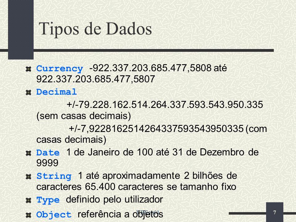 VBEsp0168 Arquivos Componentes de um Projeto De Projeto (.vdp) De Formulários (.frm) De Módulos (.bas) De Controles ActiveX (.ocx) De Controles do usuário (.ctl) De páginas de propriedades (.pag) De recursos (.res_) Externos (.exe,.dll e outros)