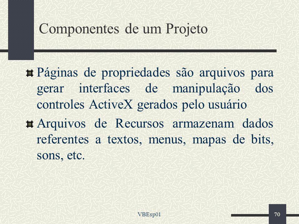 VBEsp0170 Componentes de um Projeto Páginas de propriedades são arquivos para gerar interfaces de manipulação dos controles ActiveX gerados pelo usuár