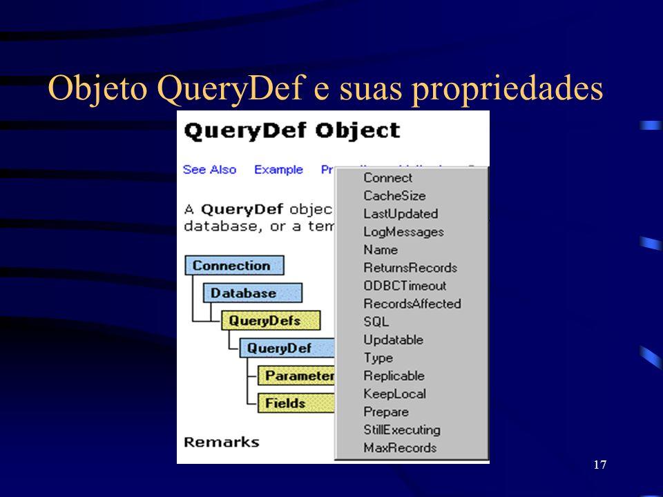 17 Objeto QueryDef e suas propriedades