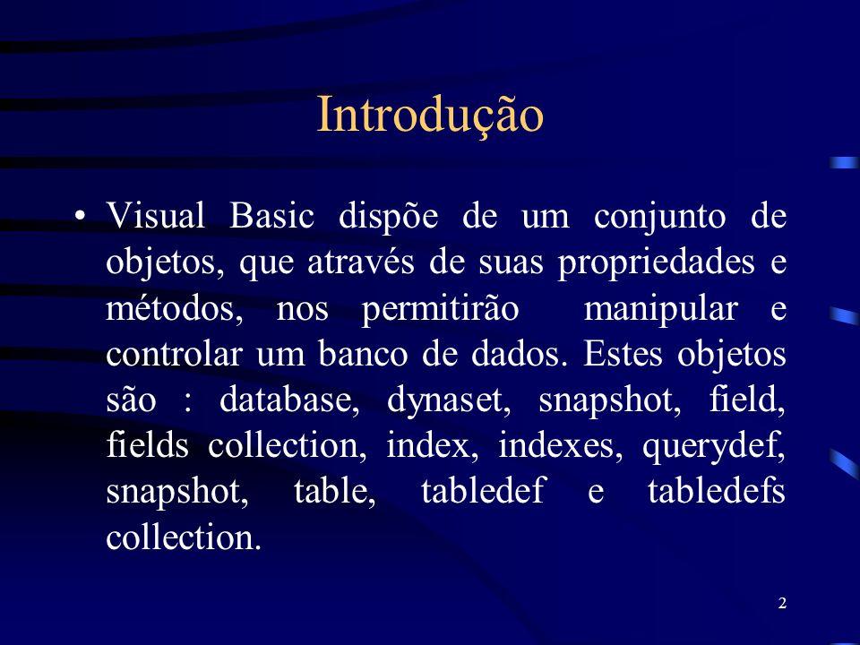 2 Introdução Visual Basic dispõe de um conjunto de objetos, que através de suas propriedades e métodos, nos permitirão manipular e controlar um banco de dados.