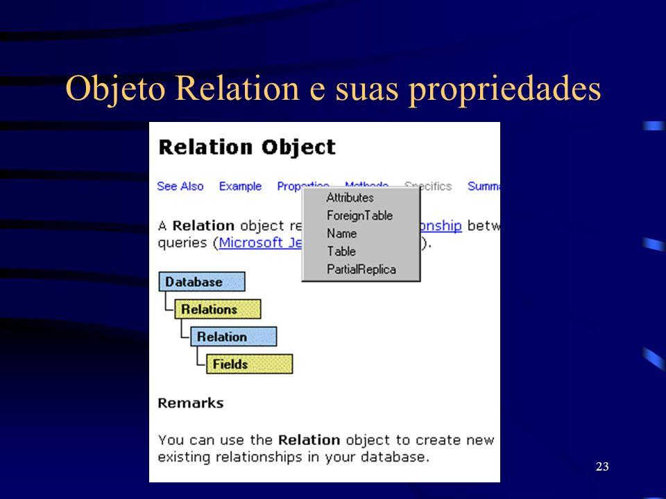 23 Objeto Relation e suas propriedades