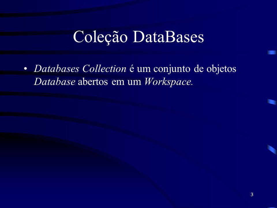 3 Coleção DataBases Databases Collection é um conjunto de objetos Database abertos em um Workspace.