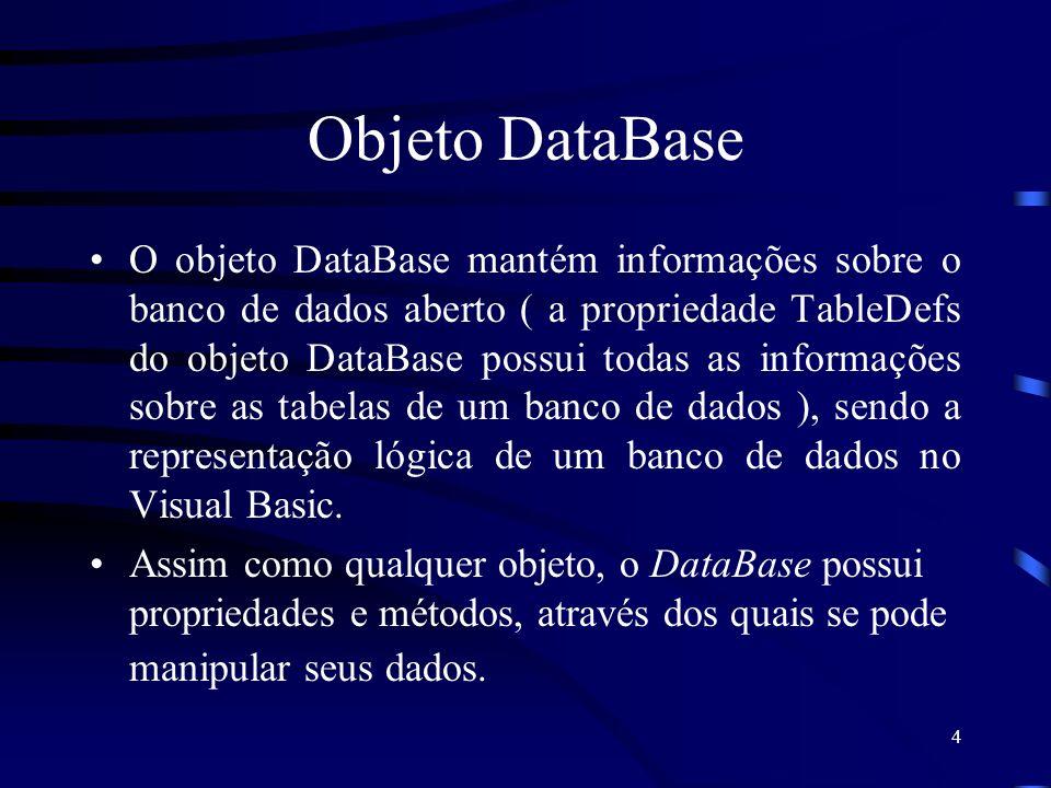 4 Objeto DataBase O objeto DataBase mantém informações sobre o banco de dados aberto ( a propriedade TableDefs do objeto DataBase possui todas as informações sobre as tabelas de um banco de dados ), sendo a representação lógica de um banco de dados no Visual Basic.