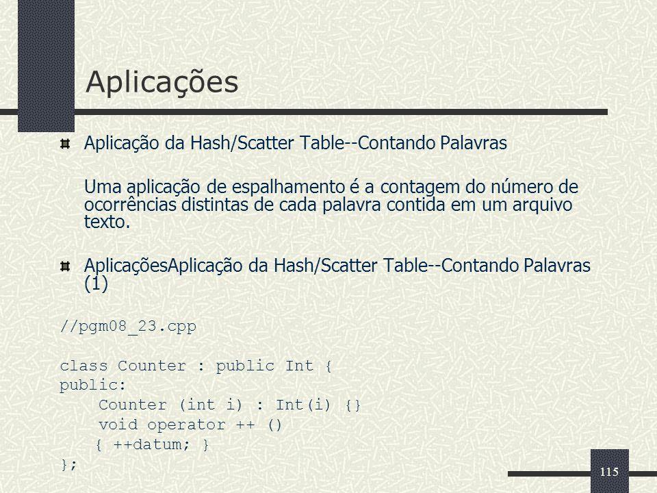 115 Aplicações Aplicação da Hash/Scatter Table--Contando Palavras Uma aplicação de espalhamento é a contagem do número de ocorrências distintas de cad