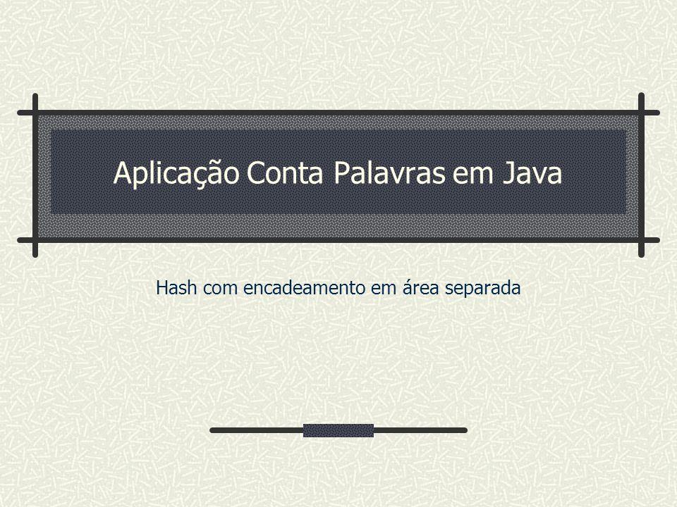 Aplicação Conta Palavras em Java Hash com encadeamento em área separada