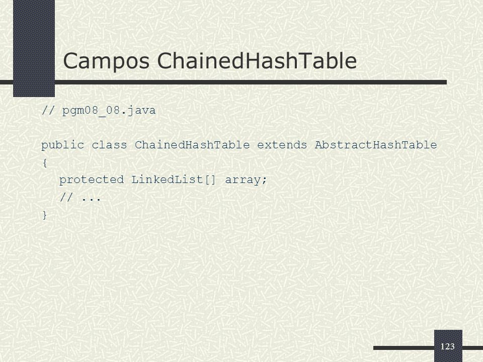123 Campos ChainedHashTable // pgm08_08.java public class ChainedHashTable extends AbstractHashTable { protected LinkedList[] array; //... }