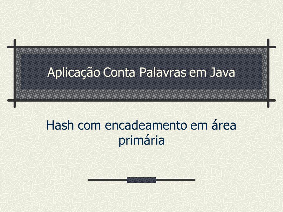 Aplicação Conta Palavras em Java Hash com encadeamento em área primária