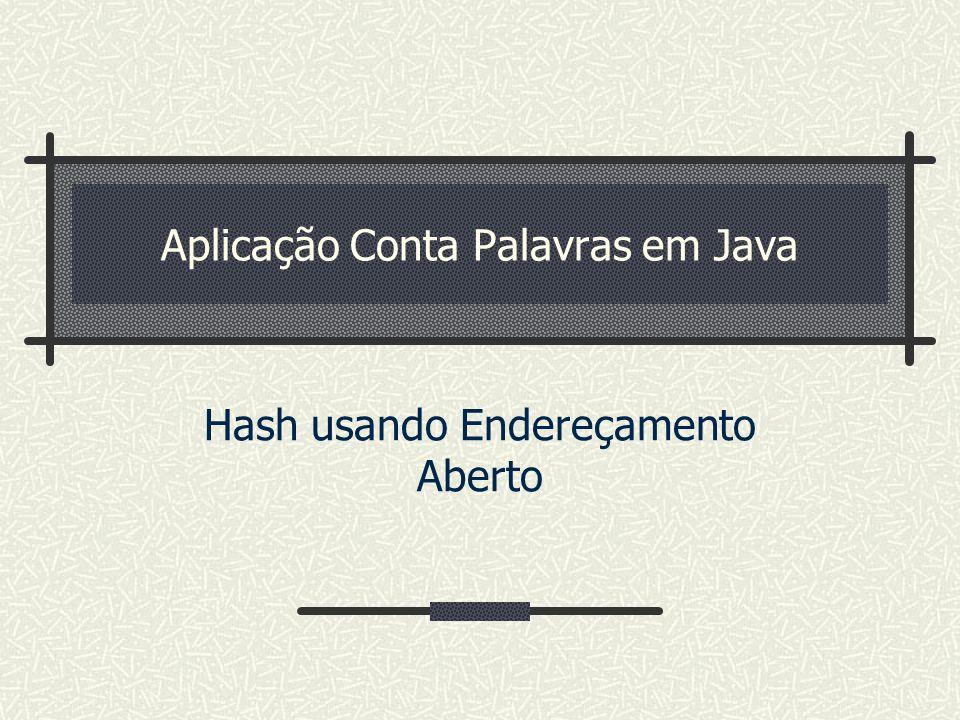 Aplicação Conta Palavras em Java Hash usando Endereçamento Aberto
