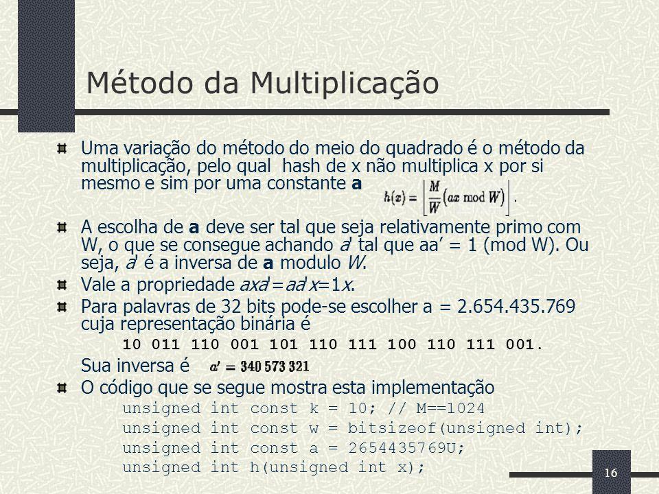 16 Método da Multiplicação Uma variação do método do meio do quadrado é o método da multiplicação, pelo qual hash de x não multiplica x por si mesmo e