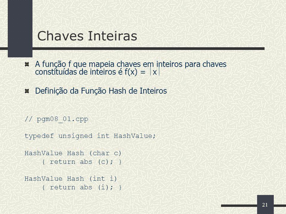 21 Chaves Inteiras A função f que mapeia chaves em inteiros para chaves constituídas de inteiros é f(x) = x Definição da Função Hash de Inteiros // pg