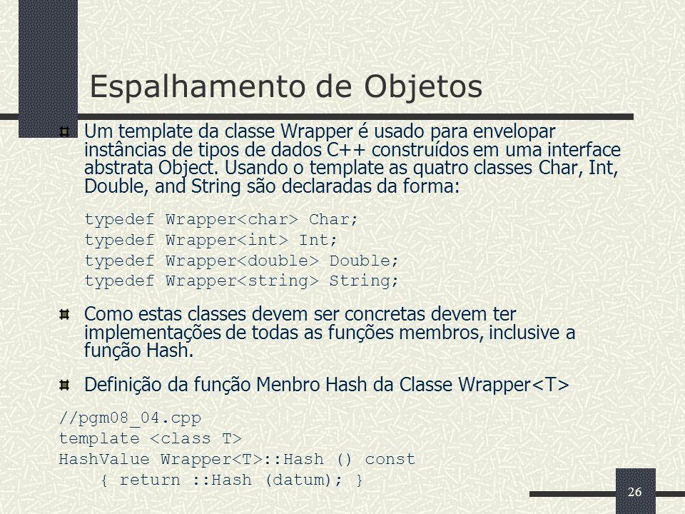 26 Espalhamento de Objetos Um template da classe Wrapper é usado para envelopar instâncias de tipos de dados C++ construídos em uma interface abstrata