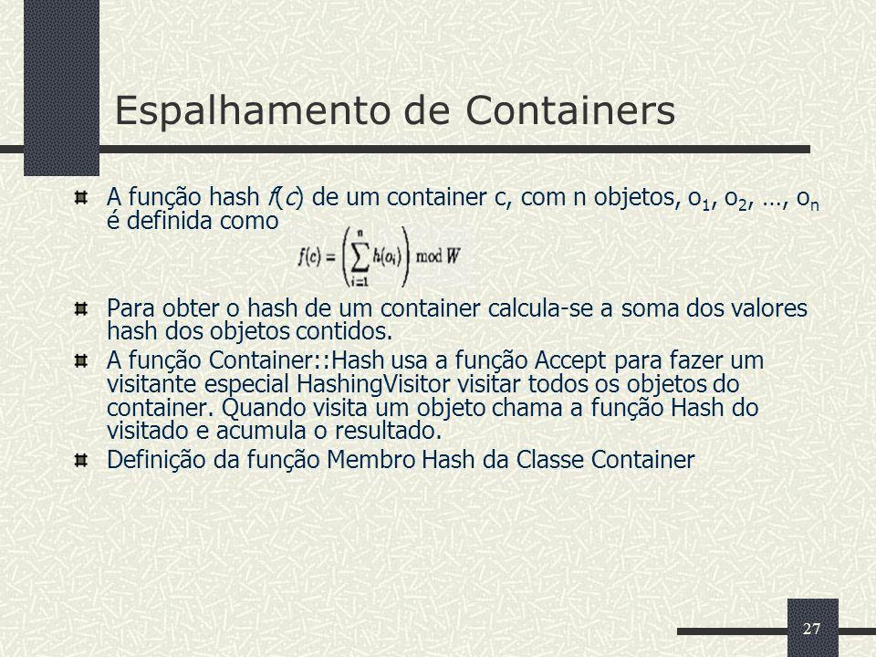 27 Espalhamento de Containers A função hash f(c) de um container c, com n objetos, o 1, o 2, …, o n é definida como Para obter o hash de um container