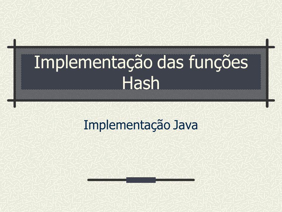 Implementação das funções Hash Implementação Java