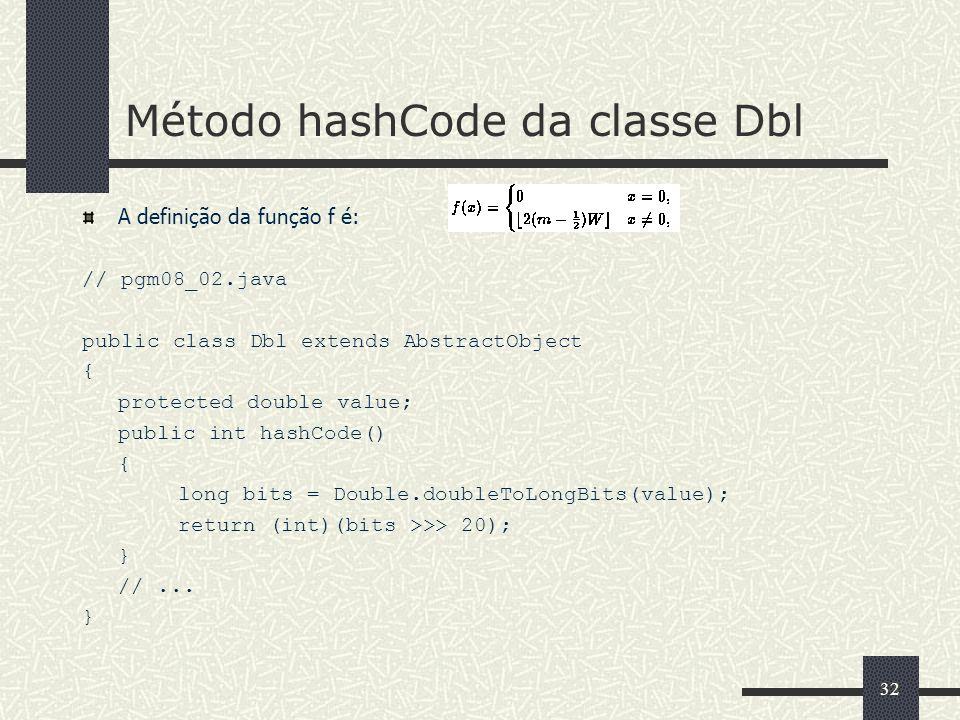 32 Método hashCode da classe Dbl A definição da função f é: // pgm08_02.java public class Dbl extends AbstractObject { protected double value; public