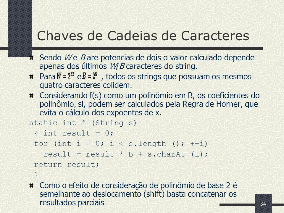 34 Chaves de Cadeias de Caracteres Sendo W e B are potencias de dois o valor calculado depende apenas dos últimos W/B caracteres do string. Para e, to