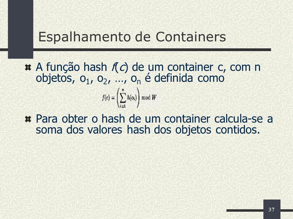 37 Espalhamento de Containers A função hash f(c) de um container c, com n objetos, o 1, o 2, …, o n é definida como Para obter o hash de um container
