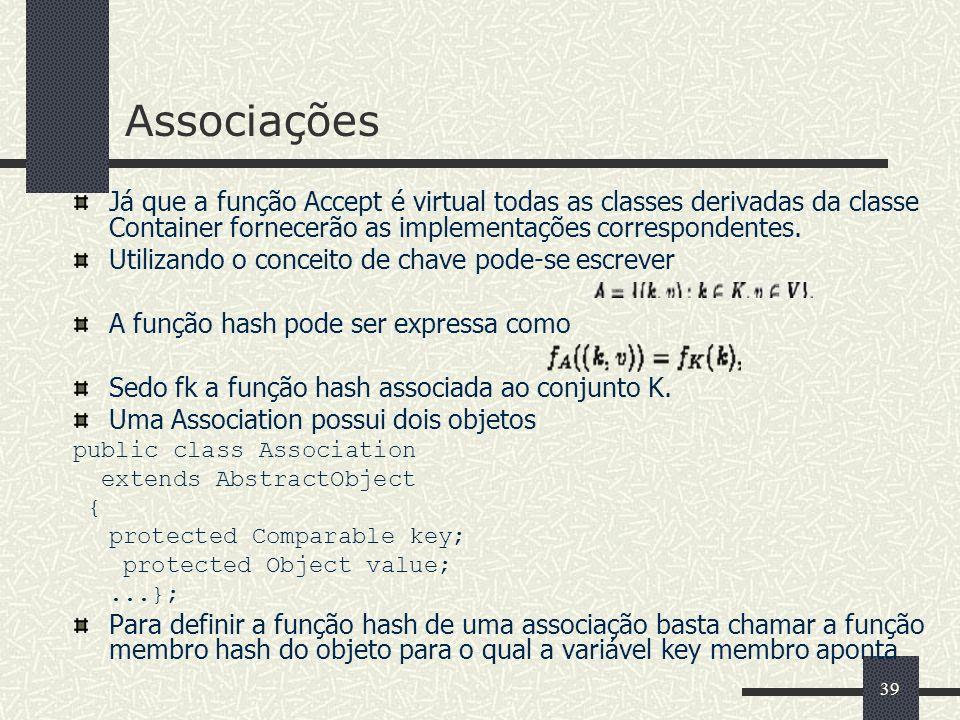 39 Associações Já que a função Accept é virtual todas as classes derivadas da classe Container fornecerão as implementações correspondentes. Utilizand