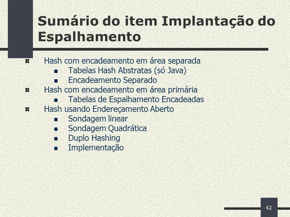 42 Sumário do item Implantação do Espalhamento Hash com encadeamento em área separada Tabelas Hash Abstratas (só Java) Encadeamento Separado Hash com