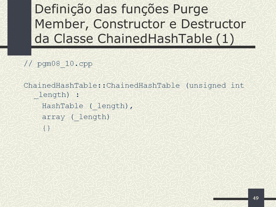 49 Definição das funções Purge Member, Constructor e Destructor da Classe ChainedHashTable (1) // pgm08_10.cpp ChainedHashTable::ChainedHashTable (uns