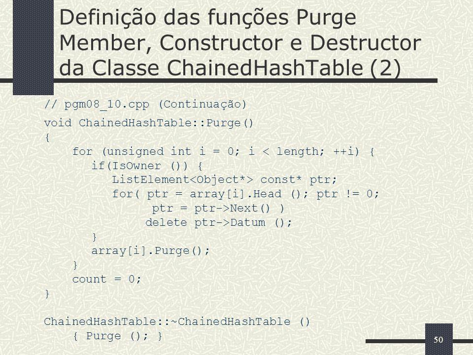 50 Definição das funções Purge Member, Constructor e Destructor da Classe ChainedHashTable (2) // pgm08_10.cpp (Continuação) void ChainedHashTable::Pu
