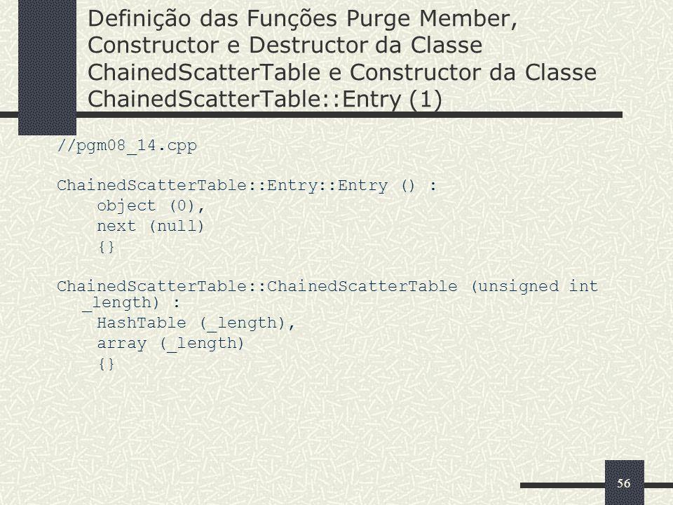 56 Definição das Funções Purge Member, Constructor e Destructor da Classe ChainedScatterTable e Constructor da Classe ChainedScatterTable::Entry (1) /
